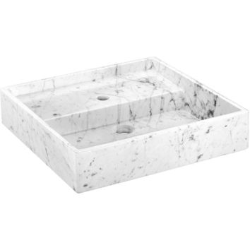 Exclusive Square Vessel Sink Countertop Lavatory Washbasin Glossy Carrara Marble