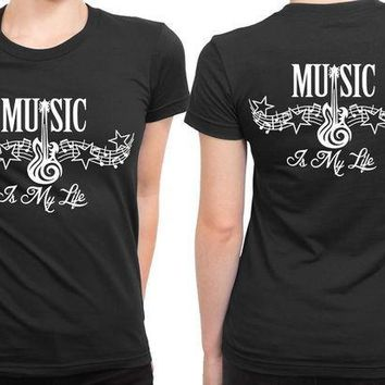 CREYH9S Music Is My Life Tribal Tattoo 2 Sided Womens T Shirt