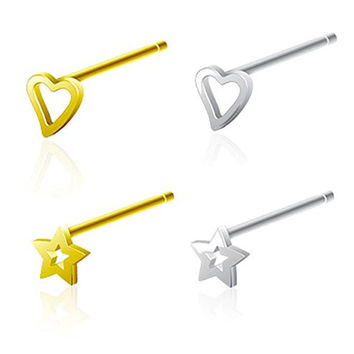 (Pack of 4) 3mm Star & Heart nose ring straight bendable 20GA all .925 Sterling Silver