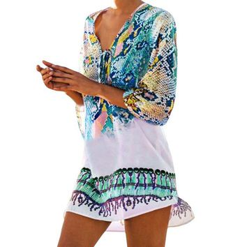 Cover ups Bikini 2018 New Print Cover Up Beach Coverup Bikini Swimwear Bathing Suit  Swimwear  Shipping KO_13_1