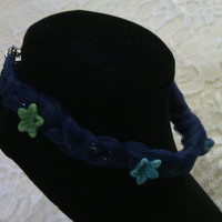 Braided Navy Blue Tulle Bracelet with Spring Flower Beads - A Spring Night
