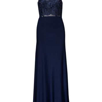 Blue Lace-Crochet Panel Evening Gown