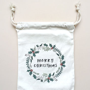 Christmas Wreath Canvas Gift Bag by In The Daylight