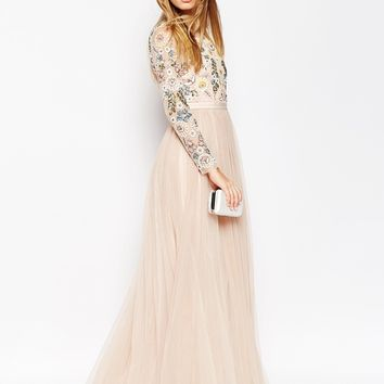 Needle Thread Backless Sheer Sleeve Tulle Embellished Maxi Dress