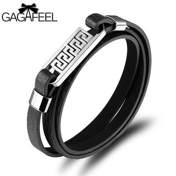 GAGAFEEL Punk Bracelets Men Jewelry Laser Engrave Bangles Great Wall Pattern Stainless Steel Cowhide Bracelet Watch Accessories