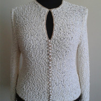 Hand Knitted Cardigan,Channel style Cardigan,Every Season useable Cardigan,  Cardigan with  pearldrop