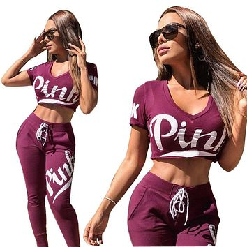 Short Sleeve Pants V-neck Crop Top Sportswear Set [40083062803]