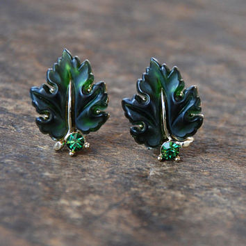 Vintage LISNER Clip On Earrings Iconic Green Oak Leaf Thermoset Lucite Rhinestone Statement Mid Century 1960's / Vintage Costume Jewelry