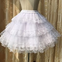 Vintage Palace Princess Skirt Pettiskirt Sweet Kawaii Lolita Skirt Lace Petticoat Ball Gown Lined Bottoming Skirt Black White