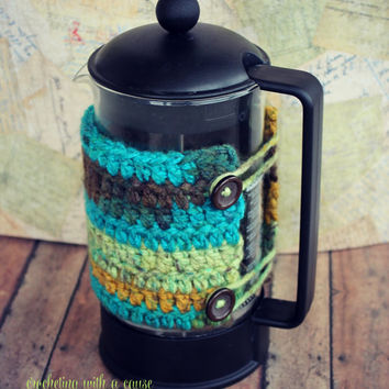 French Press Cozy - Crocheted - With Buttons - Blue, Green, and Brown