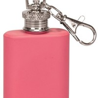 1 oz. Stainless Steel Flask Keychain - Pink