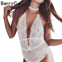 BerryGo Deep V bodysuit lingerie Hollow out summer sexy women bodysuit romper Transparent backless halter white lace intimates