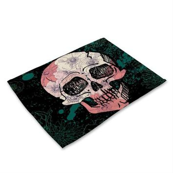 42*32cm Skull Pattern Cotton Linen Western Pad Placemat Tableware Cloth Dining Table Mat Coasters Kitchen Accessories