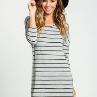 GREY DOLMAN STRIPED TEE DRESS