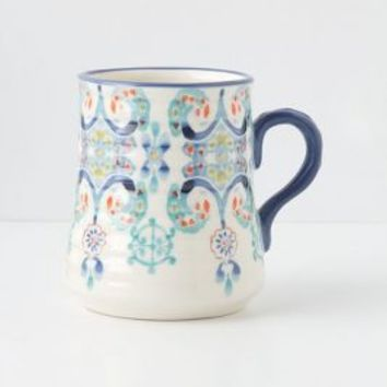 Swirled Symmetry Mug by Anthropologie in Blue Motif Size: Mug/cup Mugs