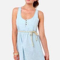Volcom Wandering Eyes Light Blue Belted Dress