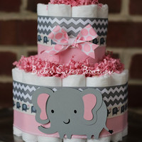 Mini 2 Tier Elephant Diaper Cake, Pink Gray Elephant Baby Shower, Girl, Baby Shower Centerpiece, Pink Grey Chevron Elephant Shower Decor