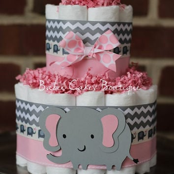 Mini 2 Tier Elephant Diaper Cake, Pink Gray Elephant Baby Shower, Girl, Baby