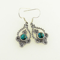 Blue Copper Turquoise Sterling Silver Bali Design Earrings