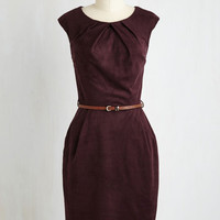 Mid-length Sleeveless Sheath Teaching Classy Dress in Plum