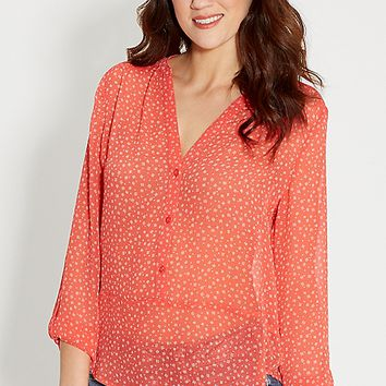 the perfect blouse in ethnic print with high-low hem | maurices