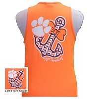 SALE South Carolina Clemson Tigers Anchor Bow Girlie Bright Tank Top