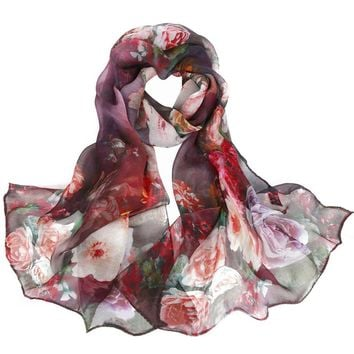 YCB Women's Mulberry Silk Baroque Print Scarf Multi-Color