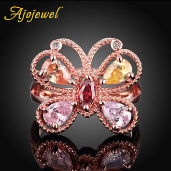 US SIZE 7,8 Ajojewel Brand Champagne & Pink Zircon Crystal Gold Butterfly Ring Costume Jewelry For Ladies