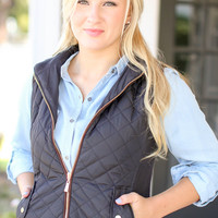 Quilted Riding Vest - Black