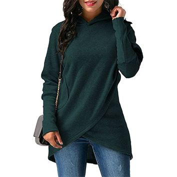 Women's Long Sleeves Wrapped Pullover Sweater
