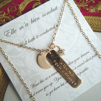 Follow your Dreams, Gold Bar Necklace, Elle m'a bien conduit, Crescent Moon, Diamond charm necklace, graduation, promotion, travel, gift