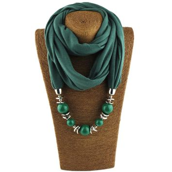 Fashion Ethnic Polyester Solid Collar Tassel Gorgeous beads pendants Necklace Jewelry Ring Scarf Shawl Scarves Hot