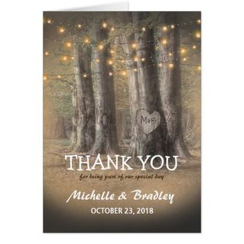 Rustic Tree & String Lights Wedding Thank You Card