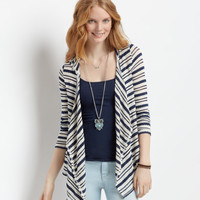 Aeropostale  Drapey Striped Hooded Cardigan