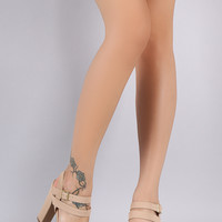 Nubuck Double Strap One Band Platform Heel