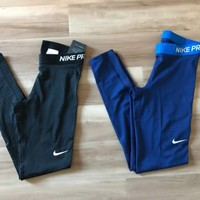 Nike Pro Training Tights Spandex Dri-FIT Compression NWT Black Blue 725477