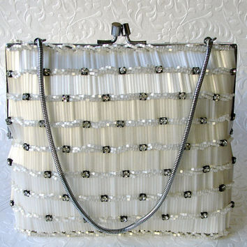 WOW Vintage Rhinestone Purse Frosted Glass Beaded Evening Bag Jeweled Formal Handbag Frost White Wedding Bridal Clutch Hand Made Hong Kong