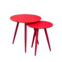 DUO 2PC Nesting Tables in High Gloss Red Tops & Legs