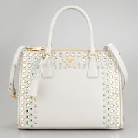 Saffiano Lux Stone-Trim Tote Bag, White