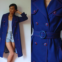 Vtg 60's Navy Red Stitch Nautical Double Breasted Belted Coat