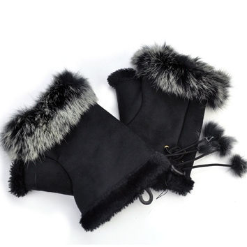 Women's Rabbit Fur Imitation leather Hand Wrist Fingerless Gloves Warm Winter Mitten = 1932771332
