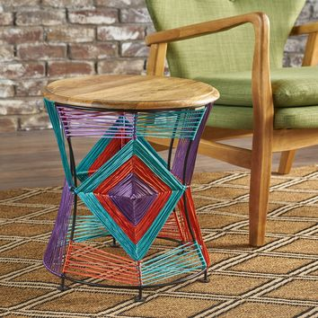 Burnist Bright Multi Colored Cotton Yarn End Table with Mango Wood Top