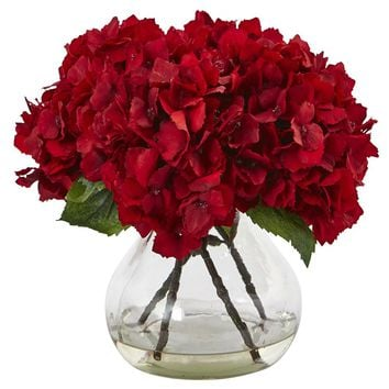 Silk Flowers -Red Hydrangea With Vase Flower Arrangement Artificial Plant