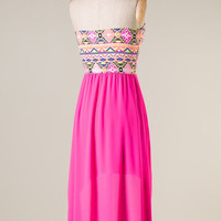 Hi Lo Aztec Party Dress - Hot Pink - Hazel & Olive