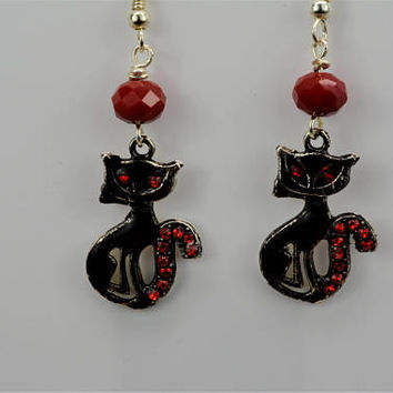 Kitty Earrings, Cat Earrings, Black Cat Earrings