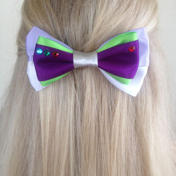 Buzz Lightyear Toy Story Space Ranger Green and Purple Bow Medium Sized, To Infinity and Beyond by Design Bowitque
