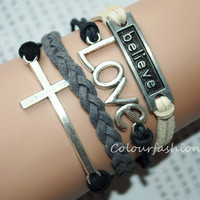 Graduation Gift, Fashion Charm Bracelet, Silver ''Believe'' ''LOVE'' Cross Charm, Black Cords, Braid Leather, Silver Jewelry, Personalized