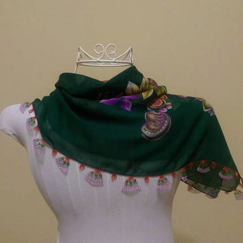DISCOUNT!! Dark Green Oya Scarf, Oya, Oya scarf, Green Scarf,Green Oya Scarf, Turkish Scarf, Turkish Lace Scarf, Summer Scarf, Naturel Showy