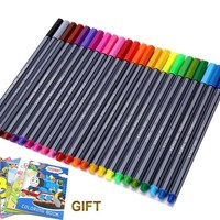 24 Colors 0.4mm Fineliner Pens with coloring book Marco Super Fine Draw not Stabilo Point 88 Markers