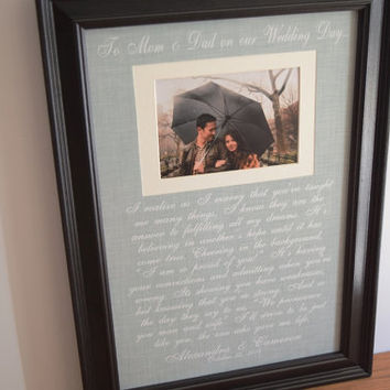 Personalized Frame - Parents of the Bride - Parents of the Groom - Wedding Gift - Thank you picture frame - Mom Dad 21x15